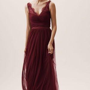 BHLDN Anthropologie Fleur Bridesmaid Dress Grey